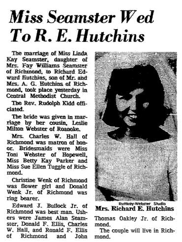 wedding notice for Linda Seamster and Richard Hutchins, Richmond Times Dispatch newspaper article 4 September 1966