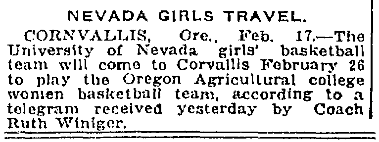 an article about women's college basketball, Salt Lake Telegram newspaper article 17 February 1921
