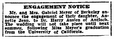 engagement notice for Annette Meyer and Harry Auslen, San Francisco Chronicle newspaper article 24 December 1919