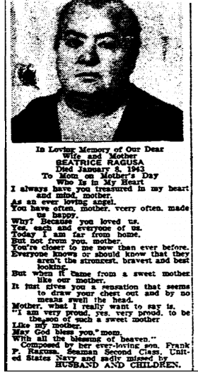 memorial to Beatrice Ragusa, Times-Picayune newspaper article 14 May 1944