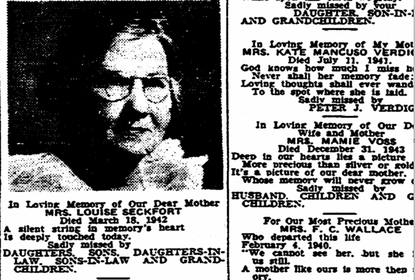Mother's Day memorials, Times-Picayune newspaper article 14 May 1944