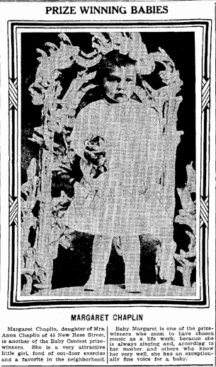 photo of Margaret Chaplin, Trenton Evening Times newspaper article 2 November 1914