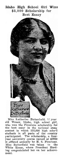 article about Katherine Butterfield, Twin Falls Daily News newspaper article 28 April 1921