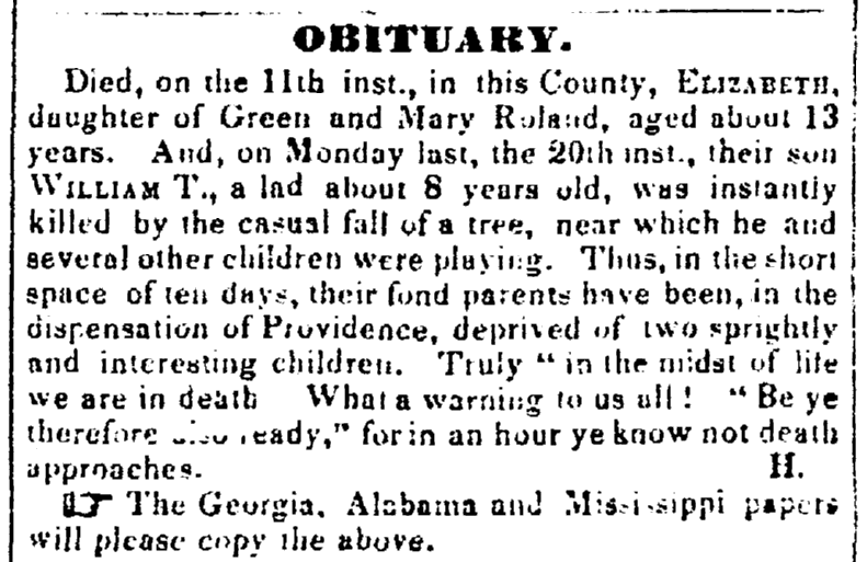 death notices for the Roland family, Weekly Arkansas Gazette newspaper article 27 April 1846