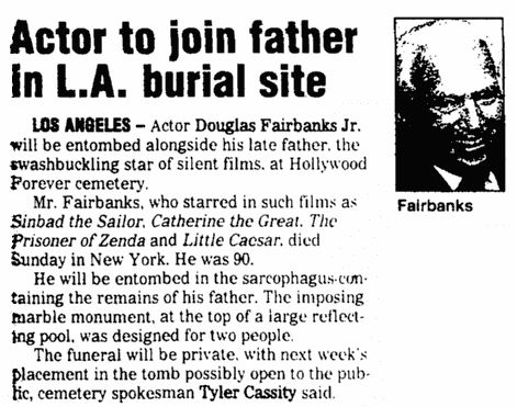 An article about Douglas Fairbanks, Jr., Augusta Chronicle newspaper article 10 May 2000