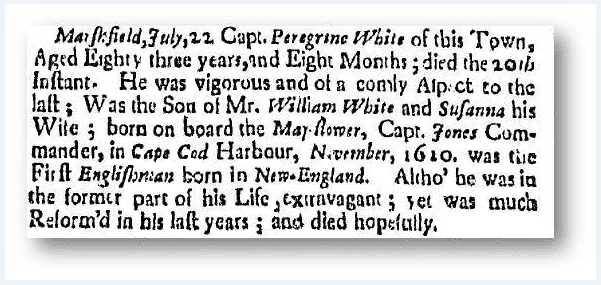 Obituary for Peregrine White, Boston Newsletter newspaper article July 24-31 1704