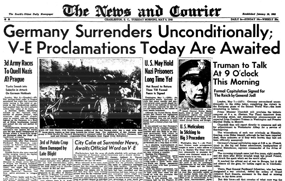 An article about V-E Day, Charleston News and Courier newspaper article 8 May 1945