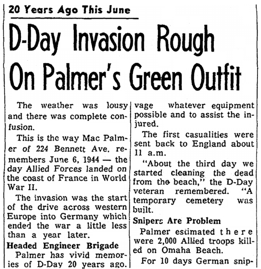 D-Day veteran Mac Palmer's account of the fighting, Daily Nonpareil newspaper article 24 May 1964