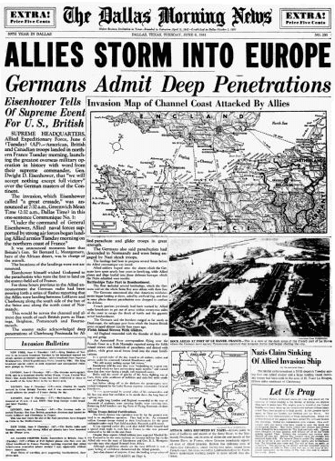 front page announcing D-Day, Dallas Morning News newspaper article 6 June 1944