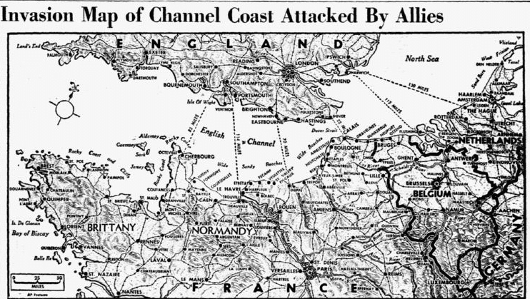 A map of the D-Day invasion of Normandy, France, Dallas Morning News newspaper article 6 June 1944