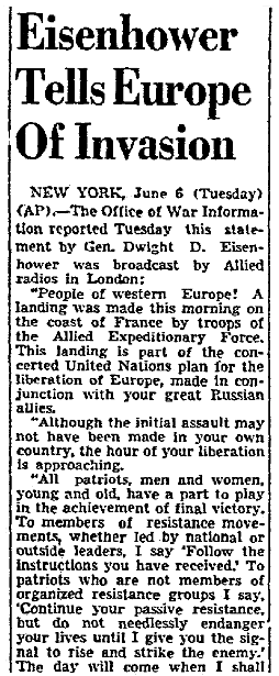 A message from General Eisenhower on D-Day, Dallas Morning News newspaper article 6 June 1944