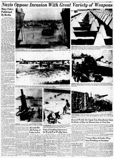 Photos of D-Day showing German weapons, Dallas Morning News newspaper article 6 June 1944