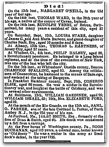 Obituaries, Evening Post newspaper article 16 September 1846