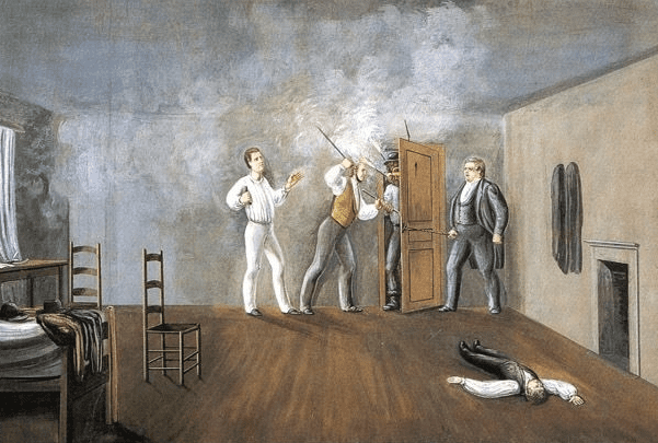"Painting: ""Interior of Carthage Jail"" by C.C.A. Christensen, showing the murder of Mormon leader Joseph Smith, Jr. Credit: Brigham Young University Museum of Art; Wikimedia Commons."