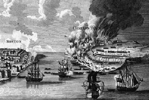 "Engraving: ""View of the Attack on Bunker's Hill with the Burning of Charlestown,"" engraving by Lodge after the drawing by Millar, 1783. Credit: American Antiquarian Society; Wikimedia Commons."