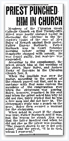 An article about a priest punching a guest during a wedding, Jersey Journal newspaper article 19 November 1918
