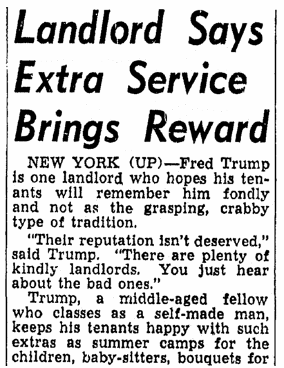An article about Fred Trump, Lexington Herald newspaper article 22 March 1954