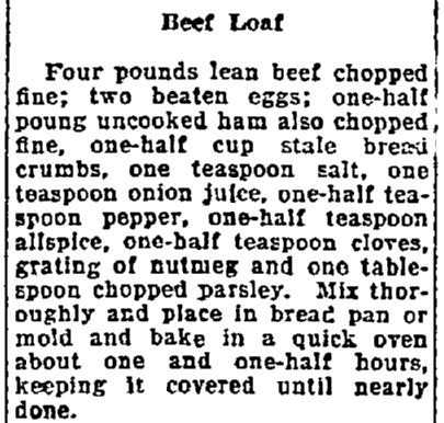 A beef loaf recipe, Lexington Herald newspaper article 22 August 1922
