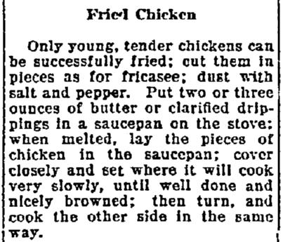 A fried chicken recipe, Lexington Herald newspaper article 22 August 1922