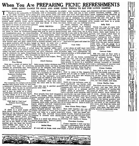 An article about picnics, with recipes, Lexington Herald newspaper article 22 August 1922