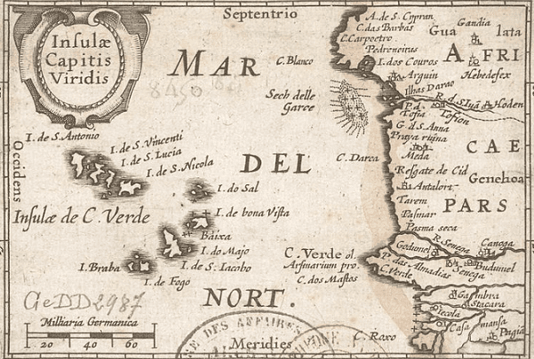 Map: Insulae Capitis Viridis (1598), showing Cape Verde. Credit: Bibliothèque nationale de France; Wikimedia Commons.