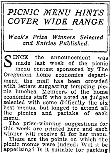 An article about a picnic menu contest, Oregonian newspaper article 30 July 1930