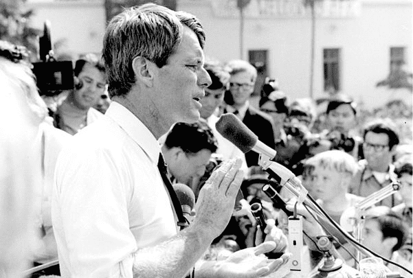 Photo: Robert F. Kennedy, 1968. Credit: Evan Freed; Wikimedia Commons.