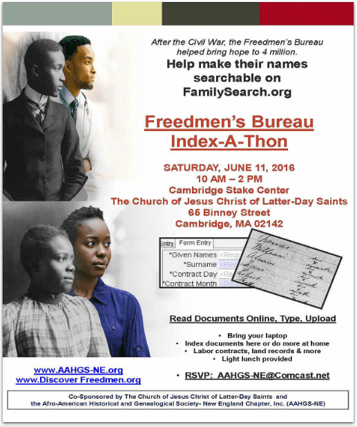 Ad from the Afro-American Historical and Genealogical Society for the Freedmen's Bureau Project