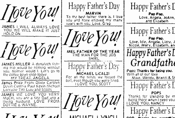 Photo: Father's Day personal ads. Source: Evening Star (Washington, D.C.), 21 June 1981, page 44