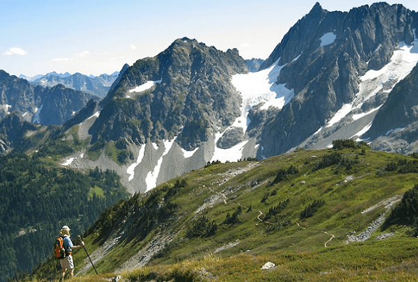 Photo: Pelton Peak, Yawning Glacier and Magic Mountain (left to right), North Cascades National Park, Washington. Credit: Daniel Hershman; Wikimedia Commons.