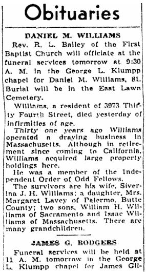 Obituaries, Sacramento Bee newspaper article 14 February 1940