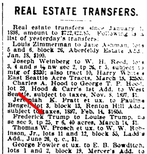 An article about Frederick Trump, Seattle Daily Times newspaper article 23 March 1898