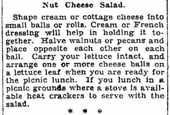 A recipe for a nut cheese salad, Seattle Daily Times newspaper article 22 June 1928