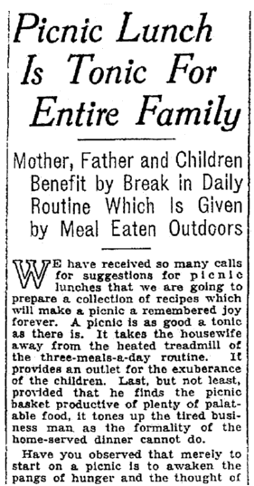 An article about picnics, Seattle Daily Times newspaper article 22 June 1928