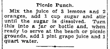 A recipe for picnic punch, Seattle Daily Times newspaper article 22 June 1928