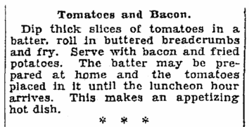 A recipe for tomatoes and bacon, Seattle Daily Times newspaper article 22 June 1928