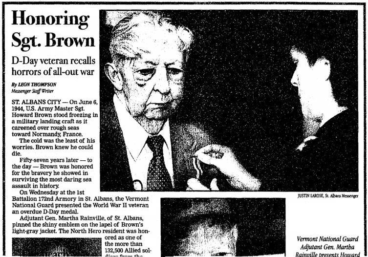 An article about D-Day veteran Howard Brown, St. Albans Daily Messenger newspaper article 7 June 2001