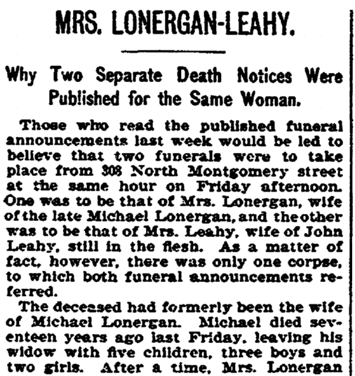 Death notice for Mrs. Longergan-Leahy, Trenton Evening Times newspaper article 18 April 1897