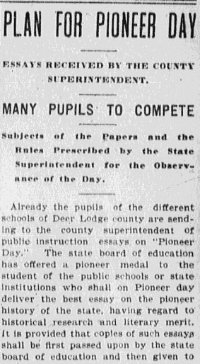An article about Pioneer Day, Anaconda Standard newspaper article 23 April 1904