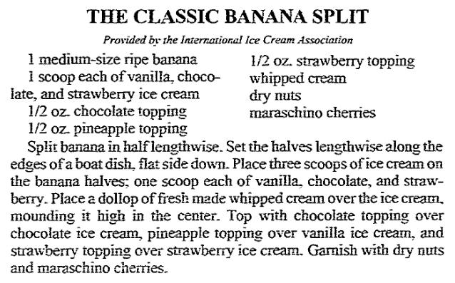 A Banana Split recipe, Arkansas Democrat newspaper article 11 March 1992