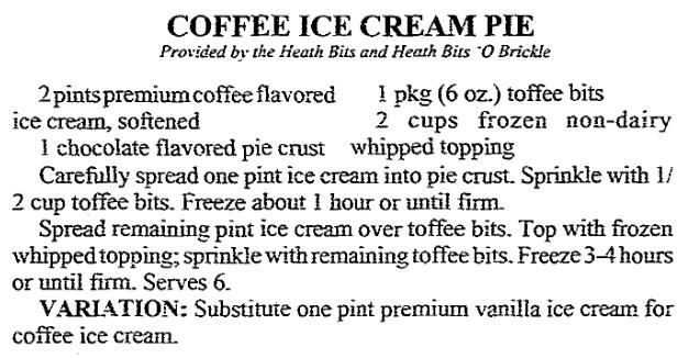 A Coffee Ice Cream Pie recipe, Arkansas Democrat newspaper article 11 March 1992