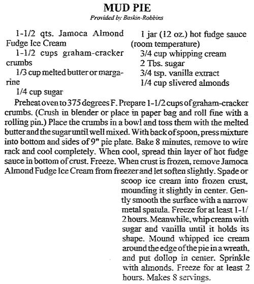 A Mud Pie recipe, Arkansas Democrat newspaper article 11 March 1992