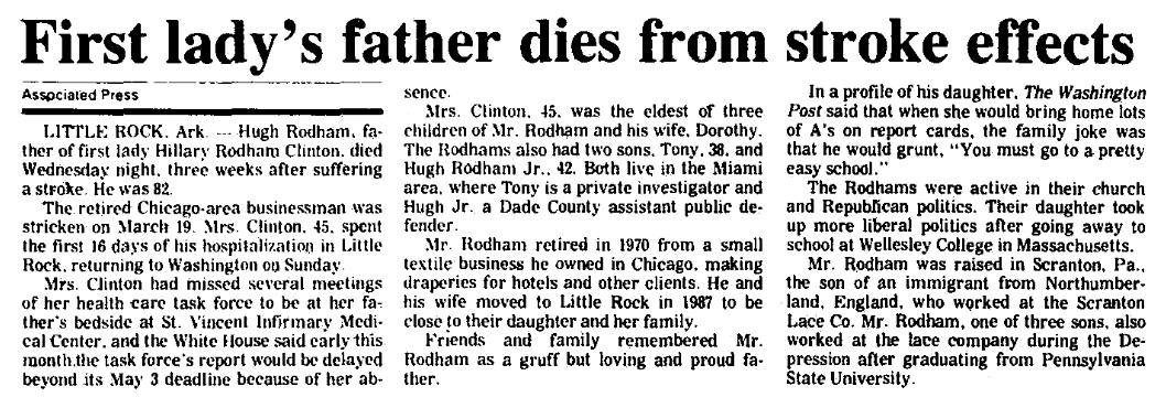 An obituary for Hugh Ellsworth Rodham, Augusta Chronicle newspaper article 8 April 1993