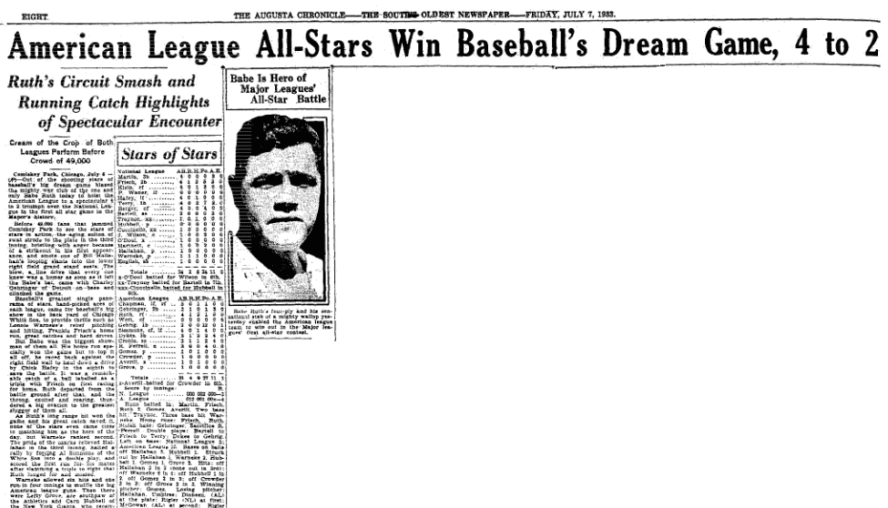 Babe Ruth Wins First All-Star Game with Bat and Glove