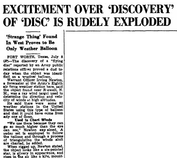 An article about the Roswell UFO incident, Augusta Chronicle newspaper article 9 July 1947