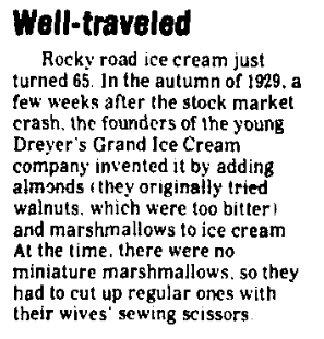 An article about Rocky Road ice cream, Augusta Chronicle newspaper article 7 December 1994