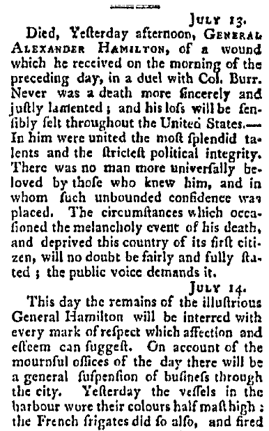 An obituary for Alexander Hamilton, Columbian Courier newspaper article 13 July 1804
