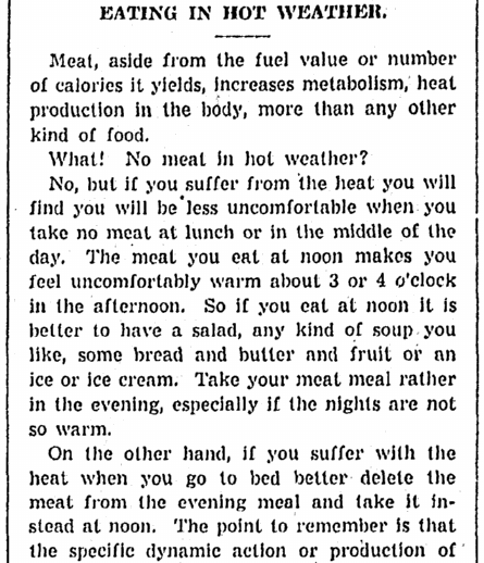 An article about coping with a heat wave, Daily Illinois State Journal newspaper article 15 July 1936