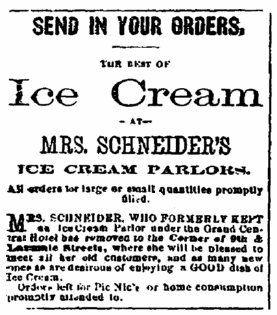 An ad for Mrs. Schneider's ice cream parlor, Daily Nebraska Press newspaper advertisement 29 August 1876