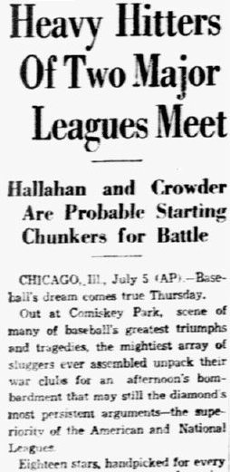 An article about baseball's first All Star Game, Dallas Morning News newspaper article 6 July 1933